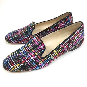 J. Crew Rainbow Woven Tweed Leather Loafers Size 9